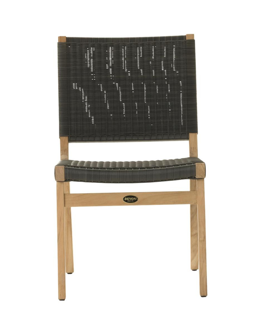 Front view of Devon Jackson outdoor teak dining side chair in shadow grey
