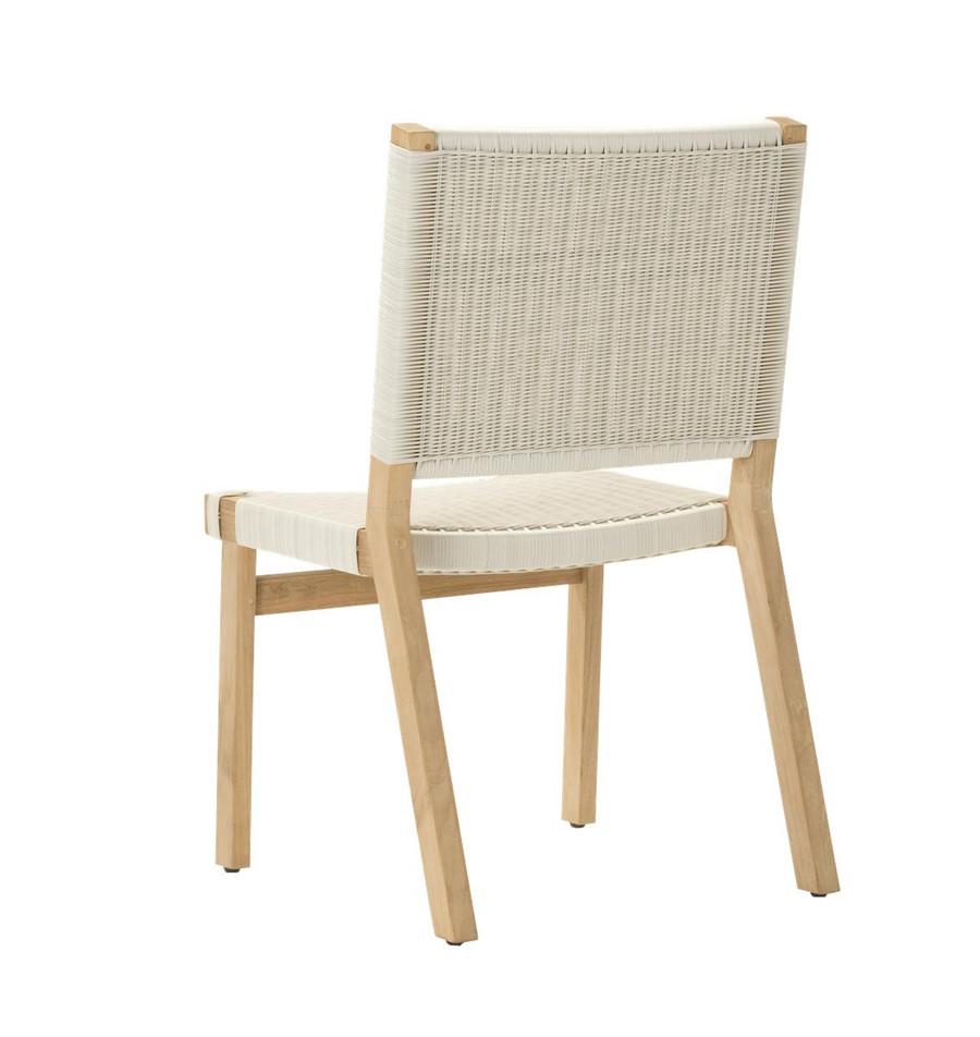 Rear view of Devon Jackson outdoor teak dining side chair in whitewash