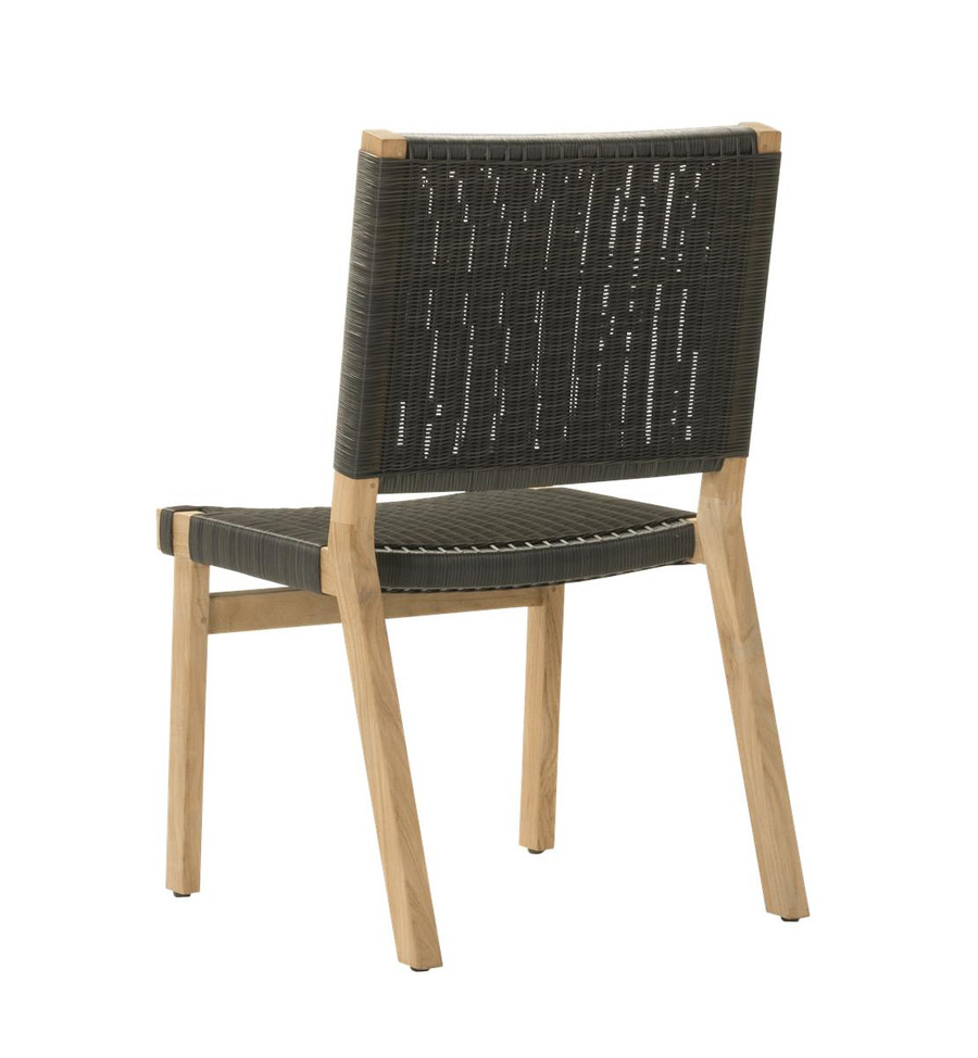 Rear view of Devon Jackson outdoor teak dining side chair in shadow grey