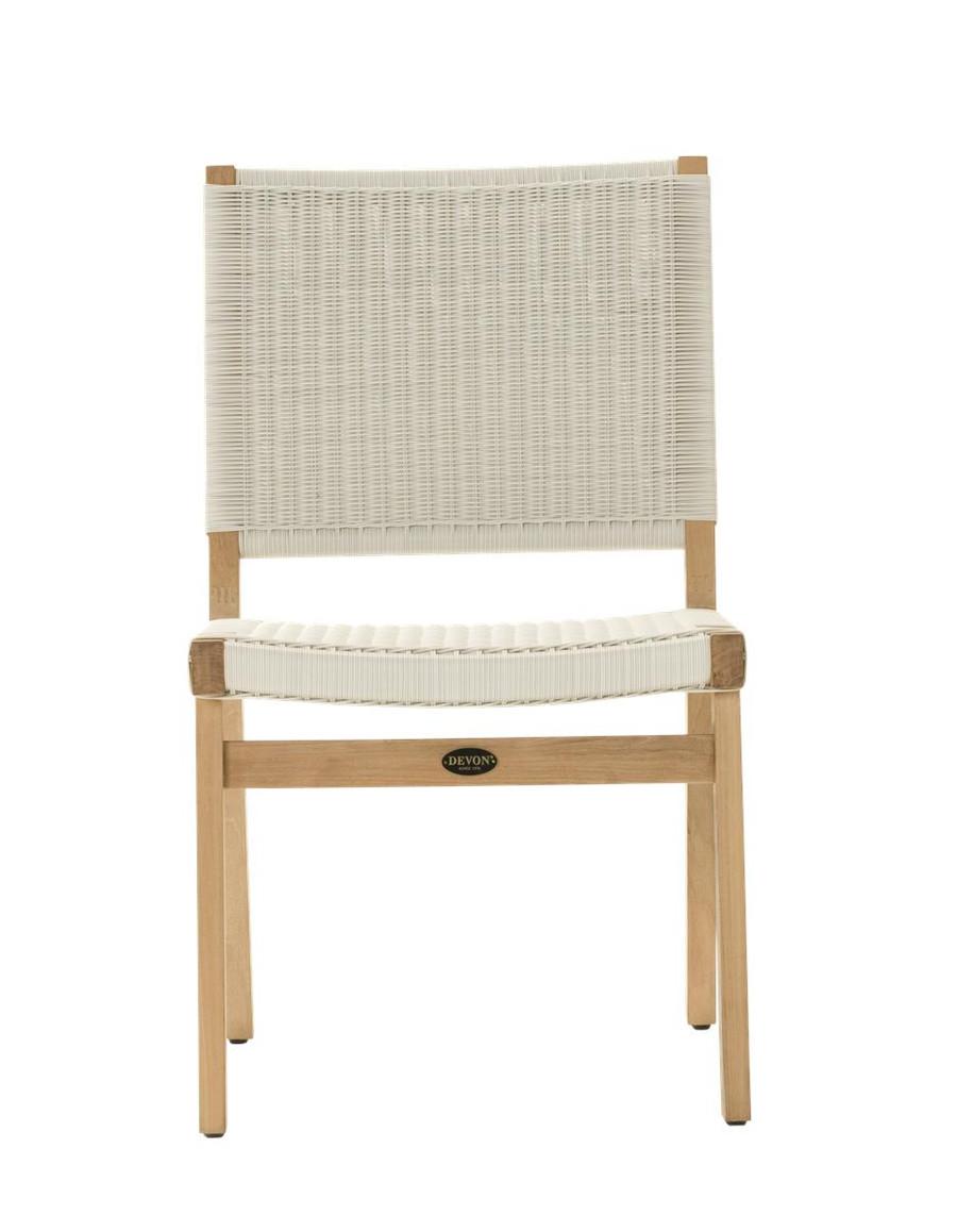 Front view of Devon Jackson outdoor teak dining side chair in whitewash