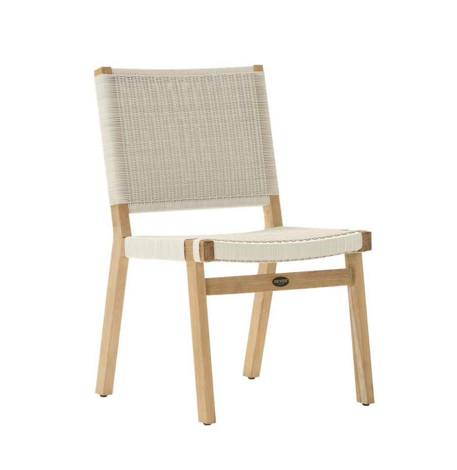 Angle view of Devon Jackson outdoor teak dining side chair in whitewash