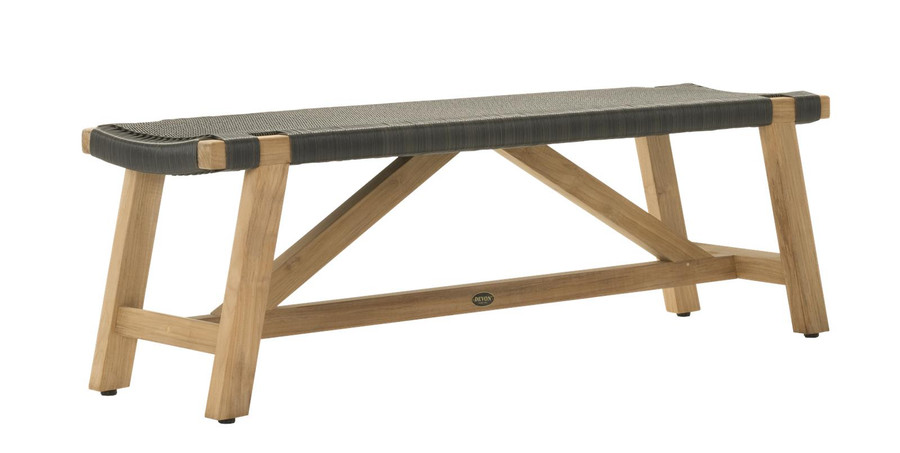 Angle view of Devon Sawyer outdoor teak bench 140cm shadow grey
