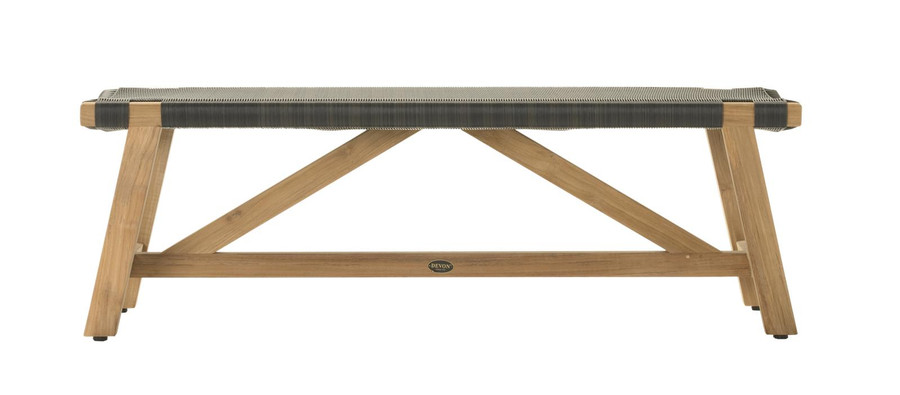 Side view of Devon Sawyer outdoor teak bench 140cm shadow grey