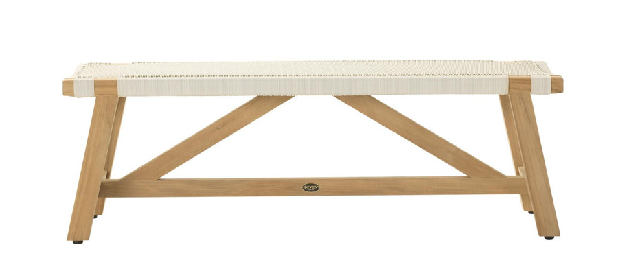 Side view of Devon Sawyer outdoor teak bench 140cm whitewash