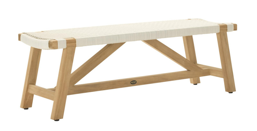 Angle view of Devon Sawyer outdoor teak bench 140cm whitewash