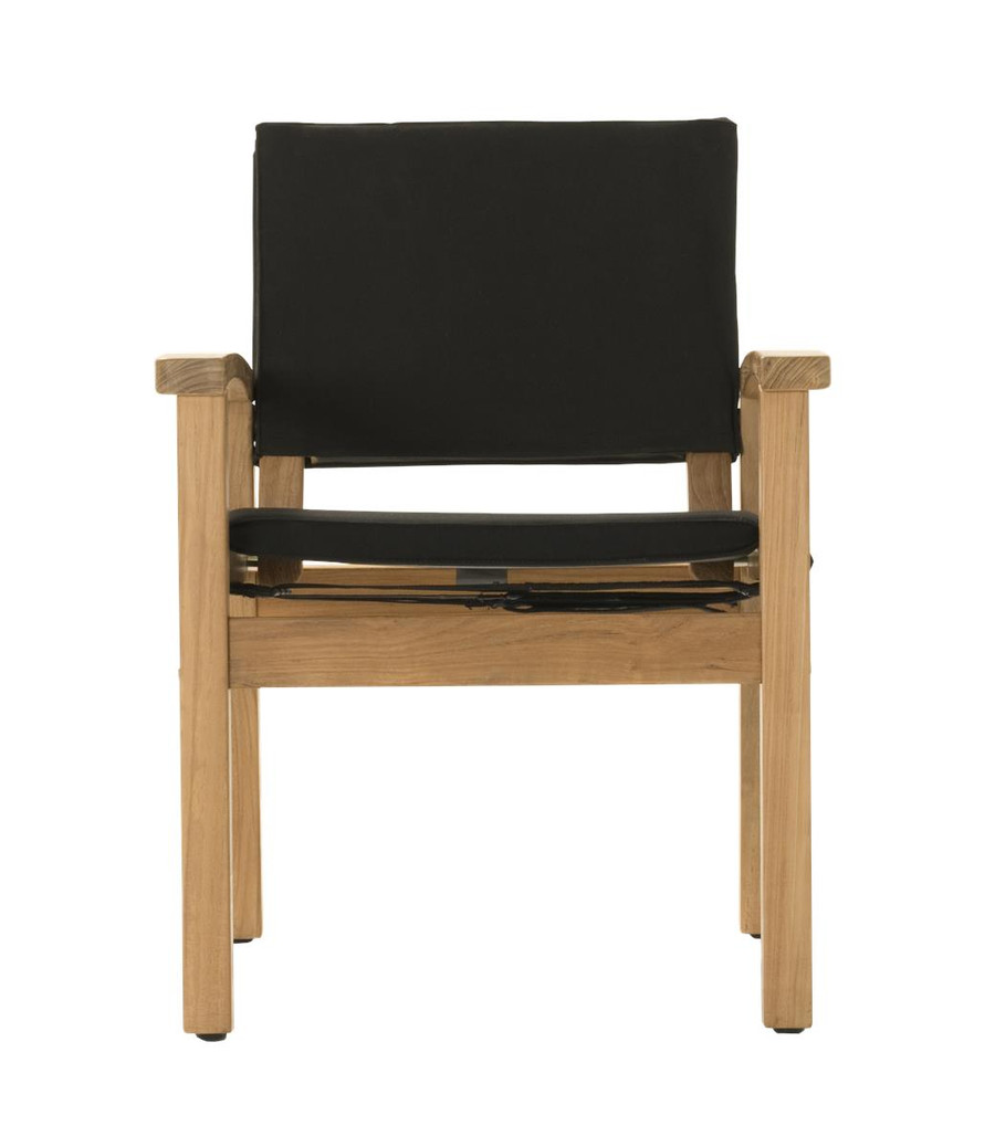 Front view of Devon Barker outdoor teak dining chair in black fabric