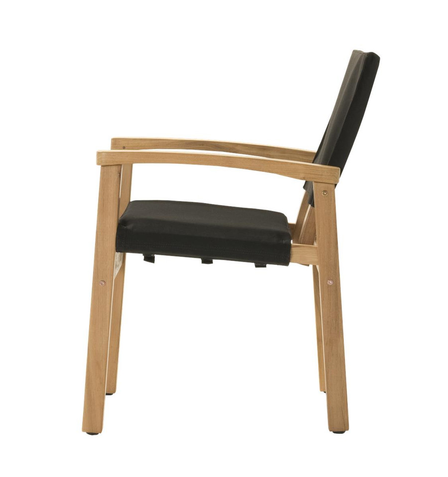 Side view of Devon Barker outdoor teak dining chair in black fabric