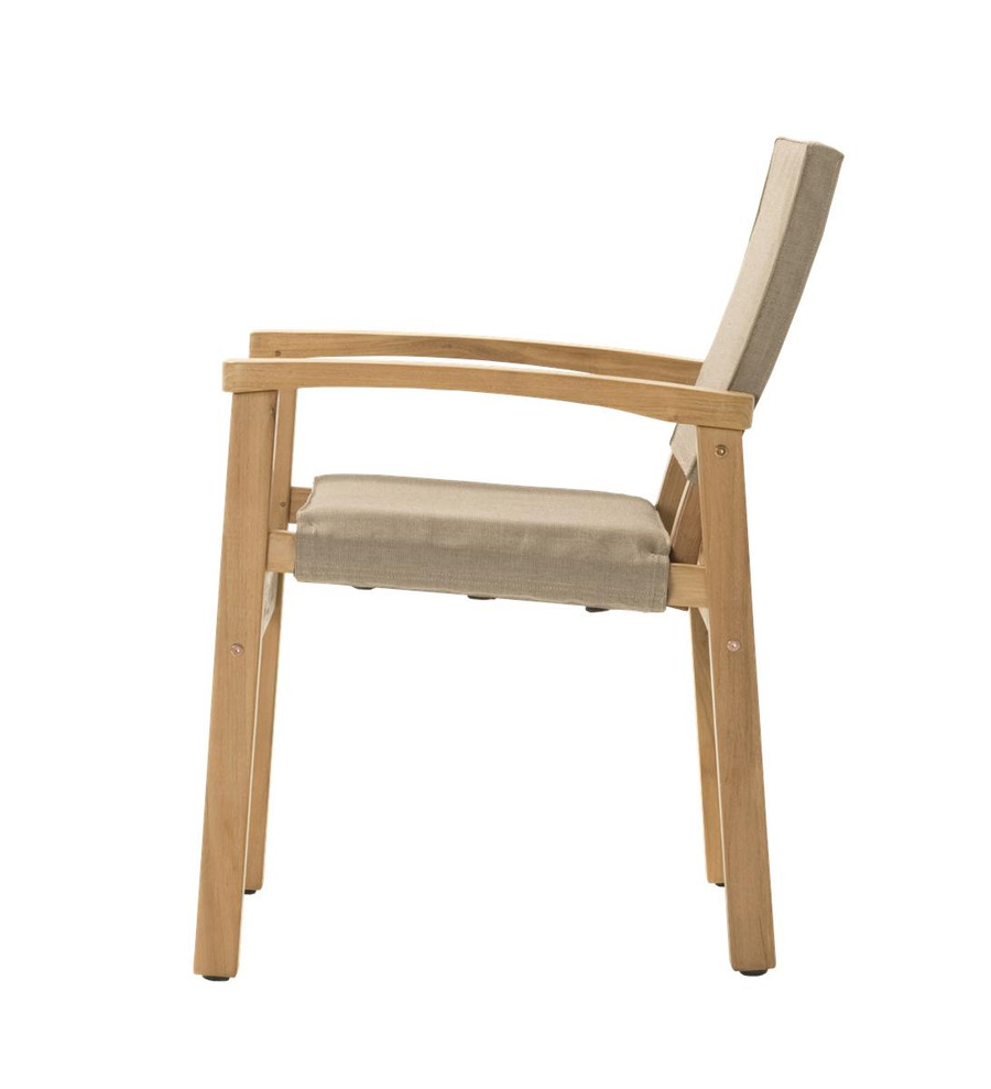 Side view of Devon Barker outdoor teak dining chair in latte fabric