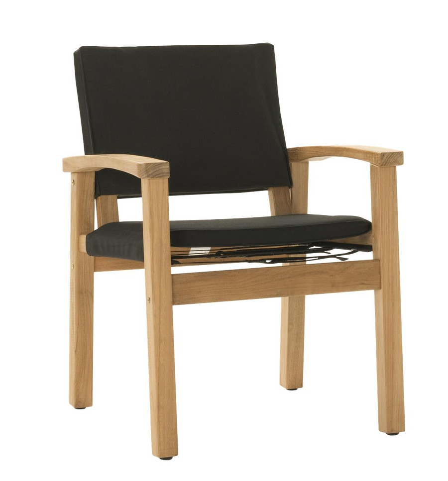 Angle view of Devon Barker outdoor teak dining chair in black fabric
