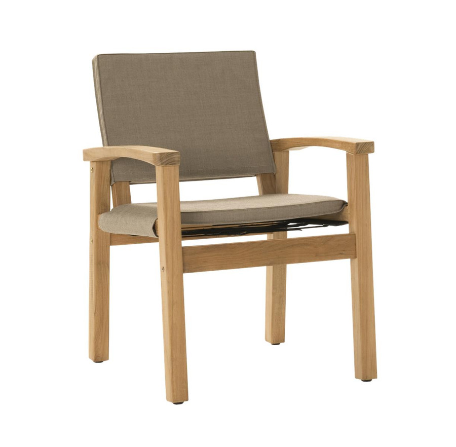 Angle view of Devon Barker outdoor teak dining chair in latte fabric