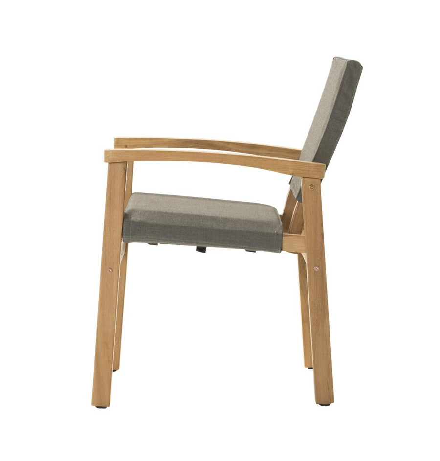 Side view of Devon Barker outdoor teak dining chair in steel fabric