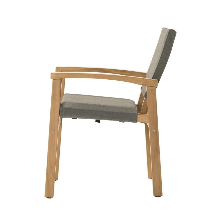 Side view of Devon Barker outdoor teak dining chair in steel fabric