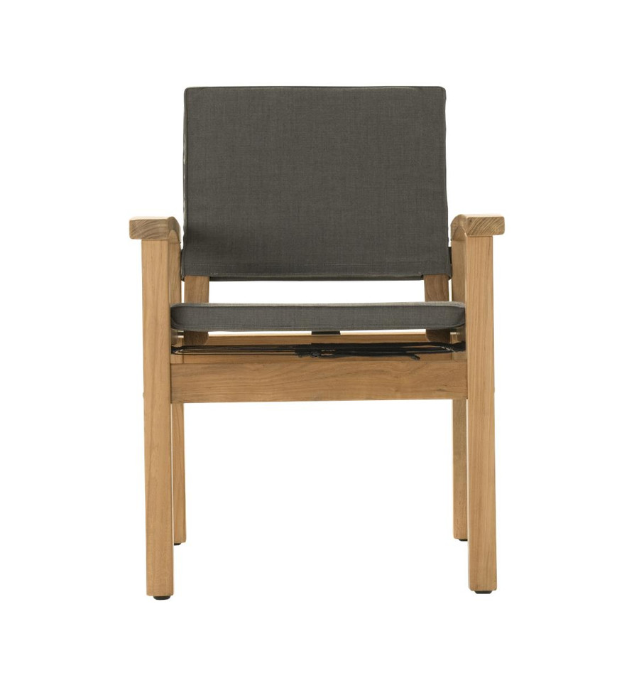 Front view of Devon Barker outdoor teak dining chair in steel fabric