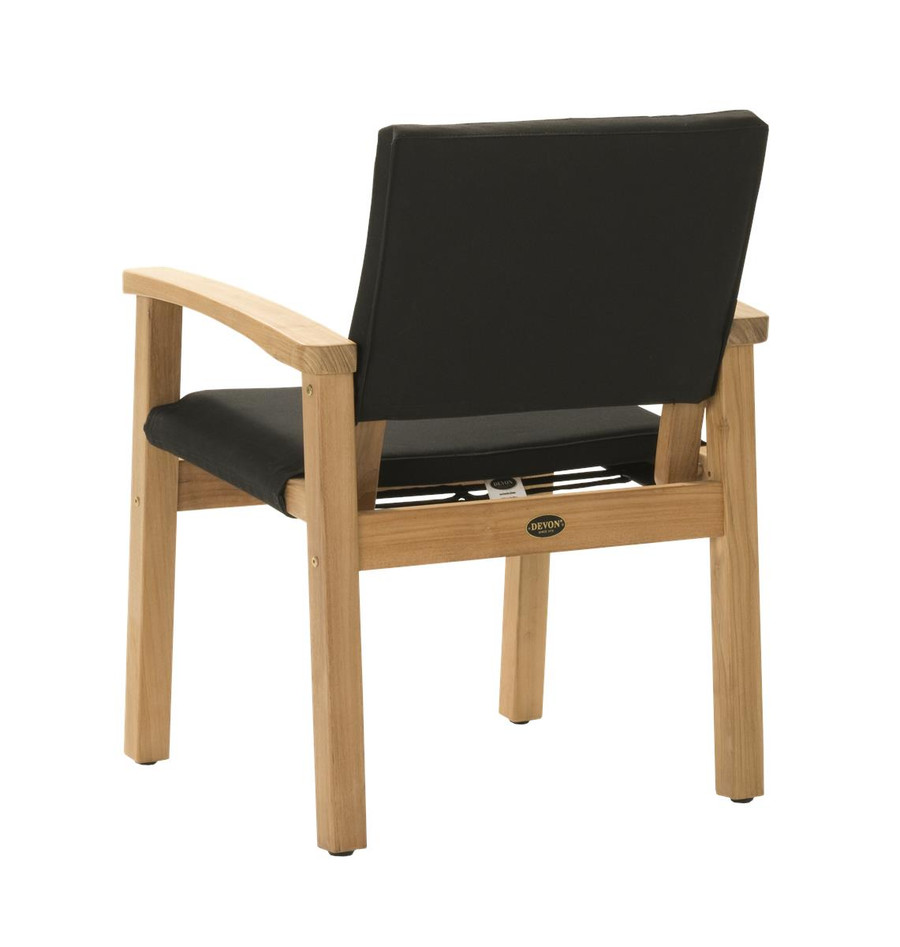 Rear view of Devon Barker outdoor teak dining chair in black fabric