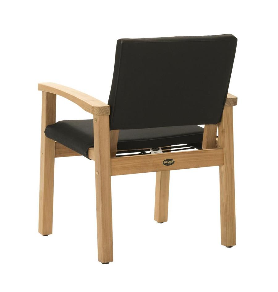Rear view of Devon Barker outdoor teak dining chair in black fabric