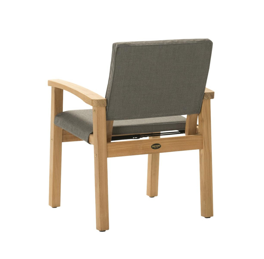 Rear view of Devon Barker outdoor teak dining chair in steel fabric
