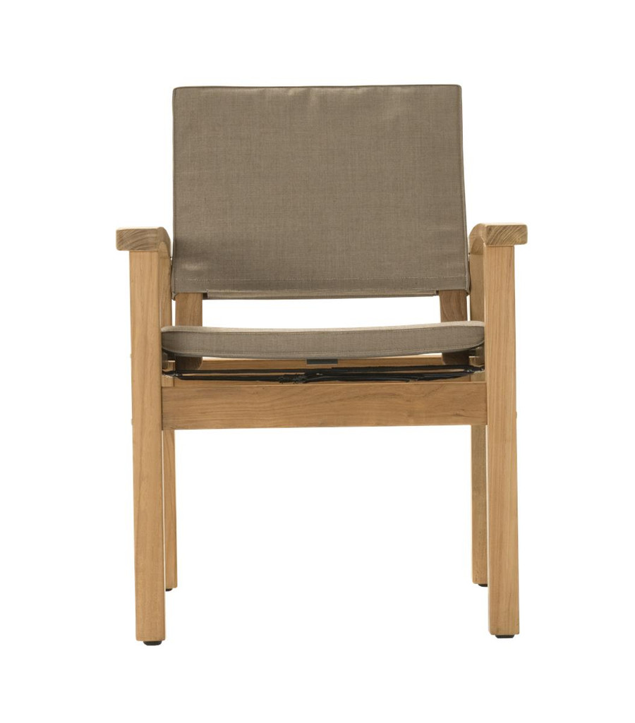 Front view of Devon Barker outdoor teak dining chair in latte fabric