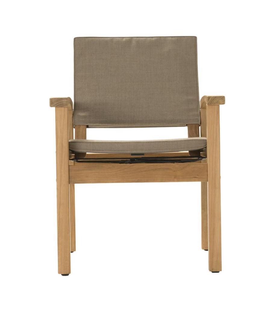 Front view of Devon Barker outdoor teak dining chair in latte fabric