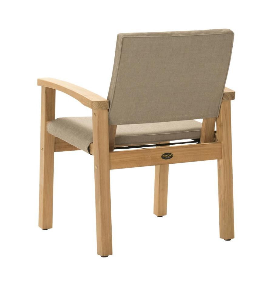 Rear view of Devon Barker outdoor teak dining chair in latte fabric