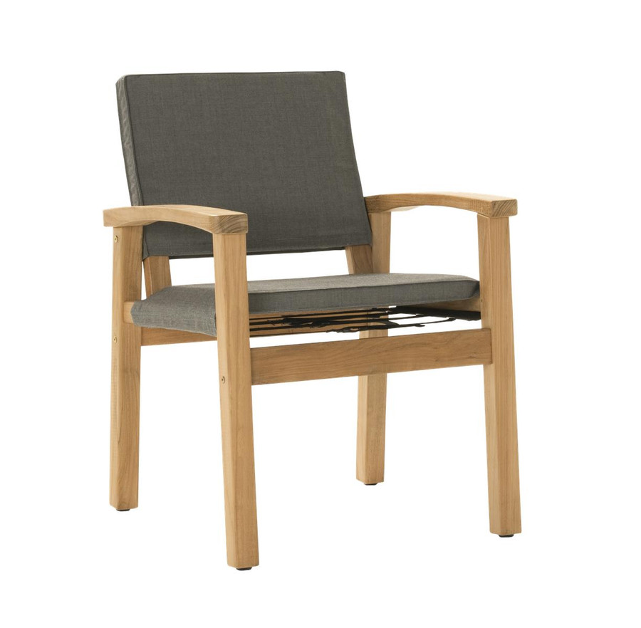 Angle view of Devon Barker outdoor teak dining chair in steel fabric