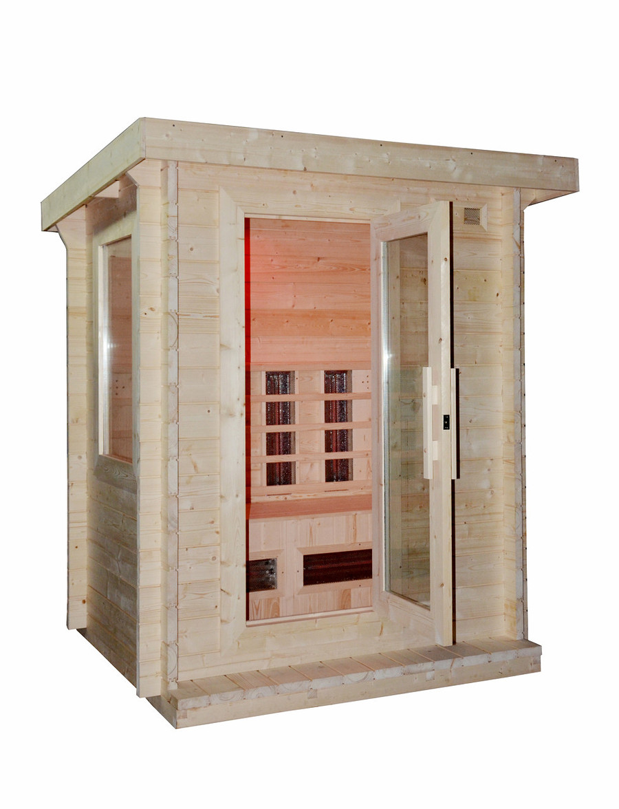 Saunas NZ. please note the sauna requires paint or stain to protect the external timber and a waterproof membrane should be applied to the wooden roof panel to protect against rain.