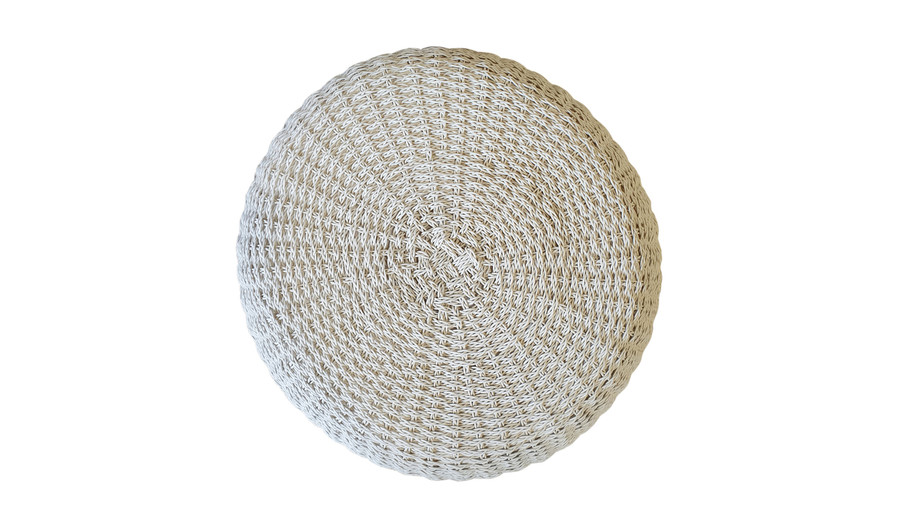 Top view of crocheted synthetic wicker outdoor pouf  with quick dry foam.