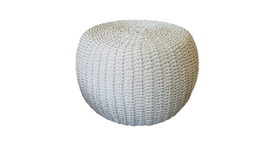Side view of crocheted synthetic wicker outdoor pouf  with quick dry foam.