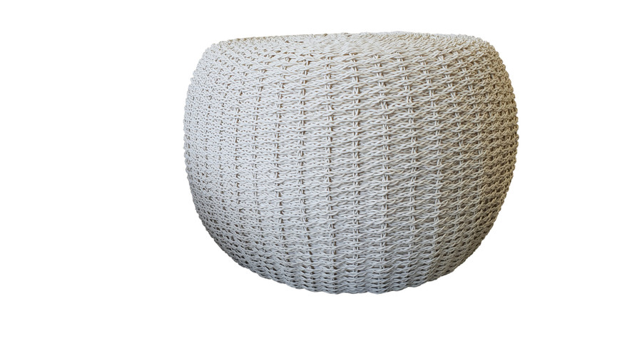 Another side view of crocheted synthetic wicker outdoor pouf  with quick dry foam.