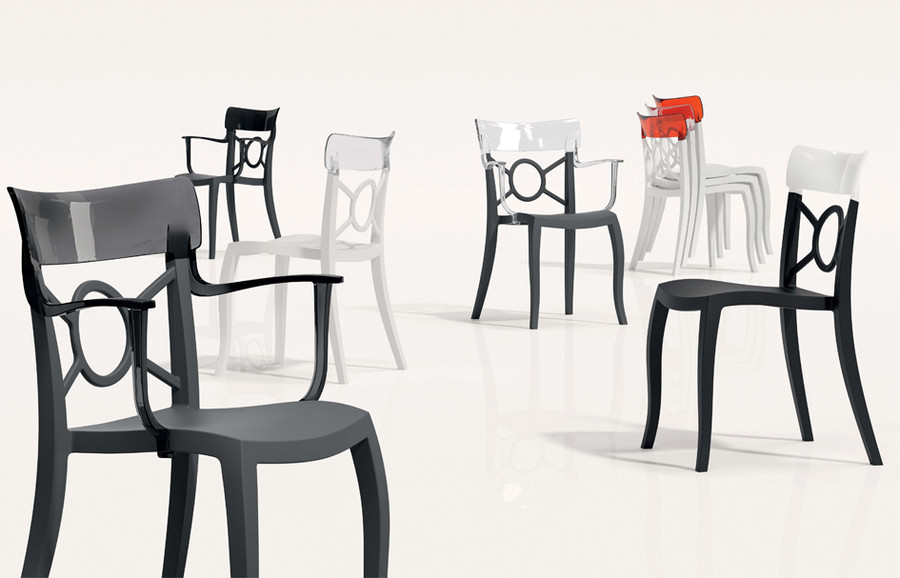 Opera S outdoor plastic side chair - White only