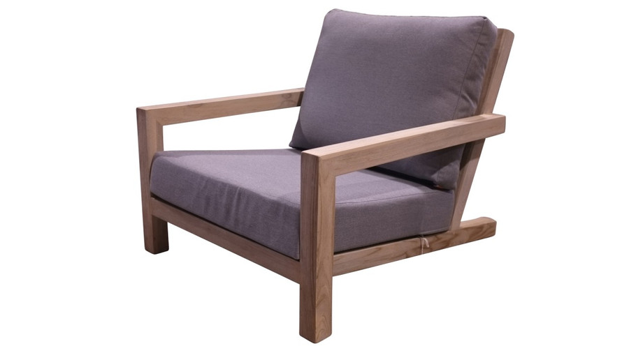 Life Block outdoor aged teak low chair