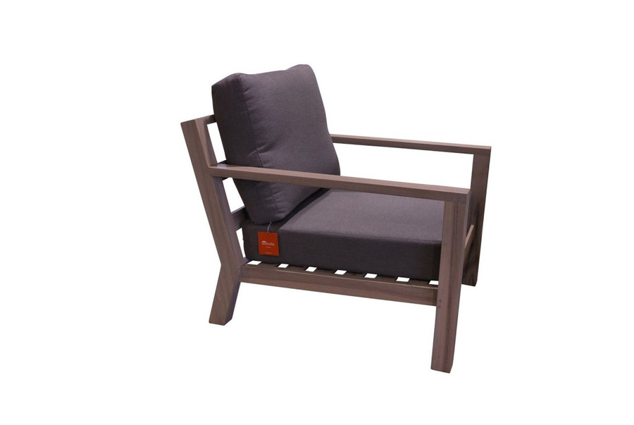 """This picture is for representation of the chair shape and cushions. The wood finish and cushion fabric are different from the actual one supplied which has natural teak and dark charcoal """"sunbrella """"sooty"""" fabric."""