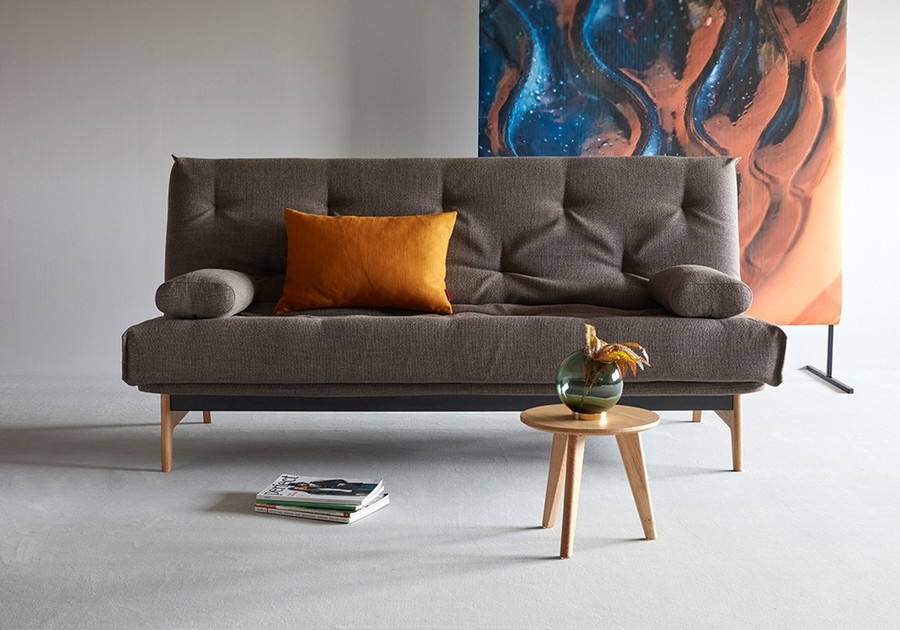 Aslak sofa bed frontal view. Please note - no side cushions supplied.