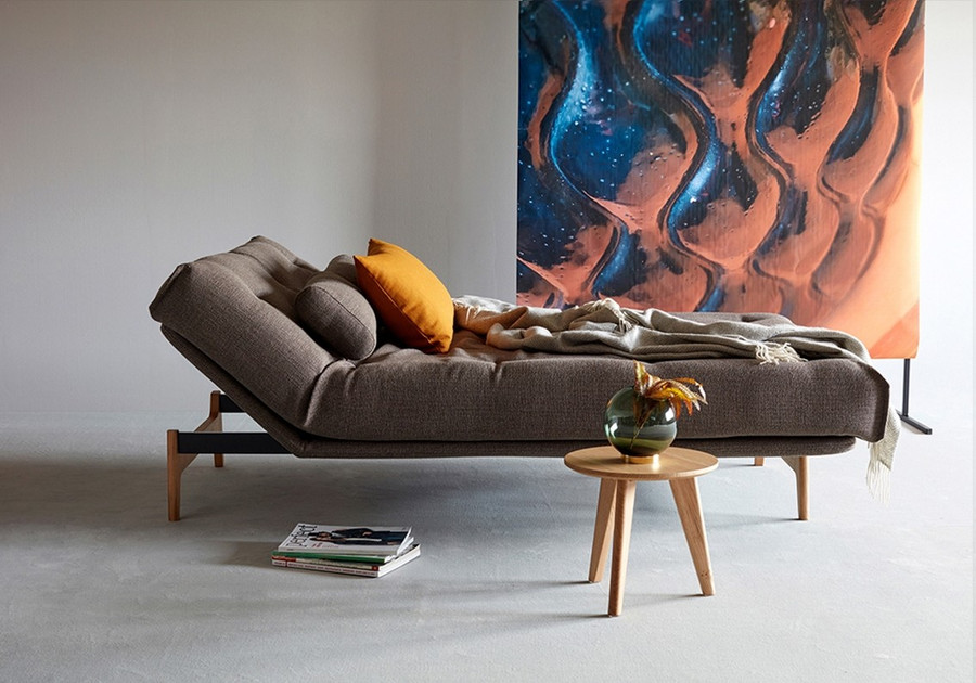 Aslak sofa bed with side rest lifted up. This can be on left or right side