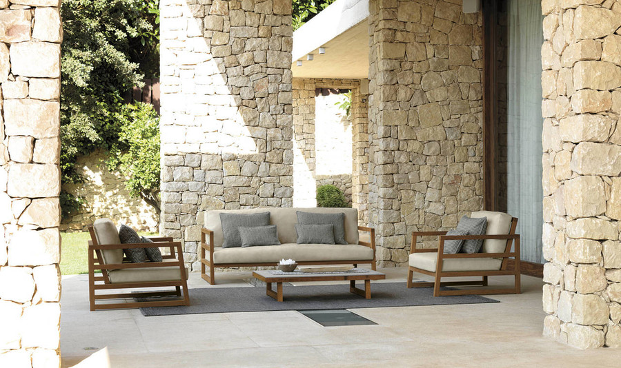 Alabama Outdoor Coffee Table By Talenti - Iroko Wood And Concrete