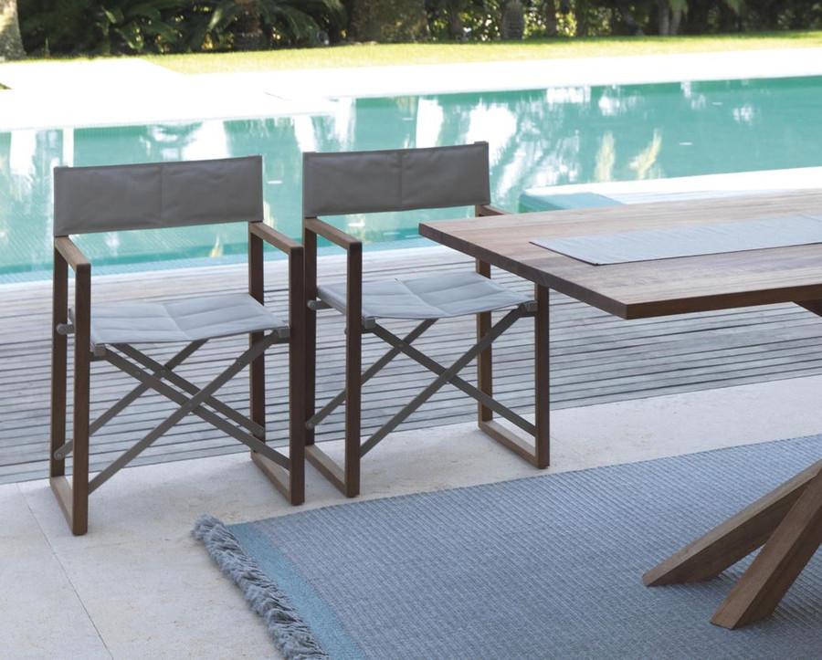 Bridge Outdoor Folding Directors Chair In Mahogany Wood
