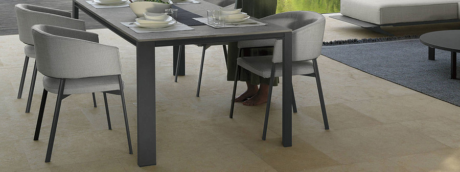 Eden Outdoor Aluminium Dining Table 220x100cm By Talenti - With Cement Top