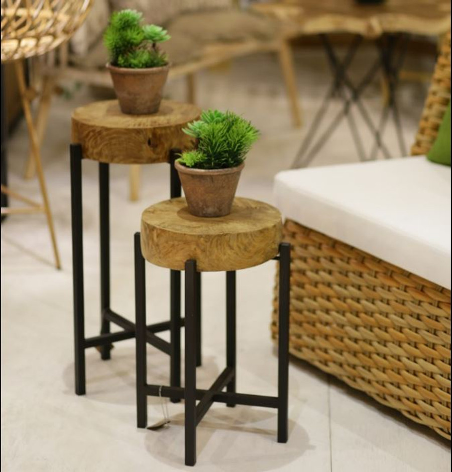 Round Teak And Metal Outdoor Accent Table