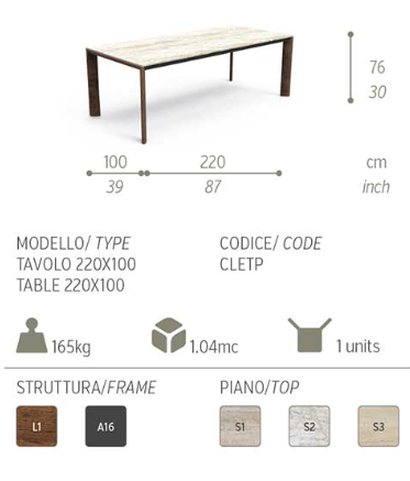 Cleo Outdoor Dining Table With Iroko Wood Frame And Travertine Marble Top  By Talenti