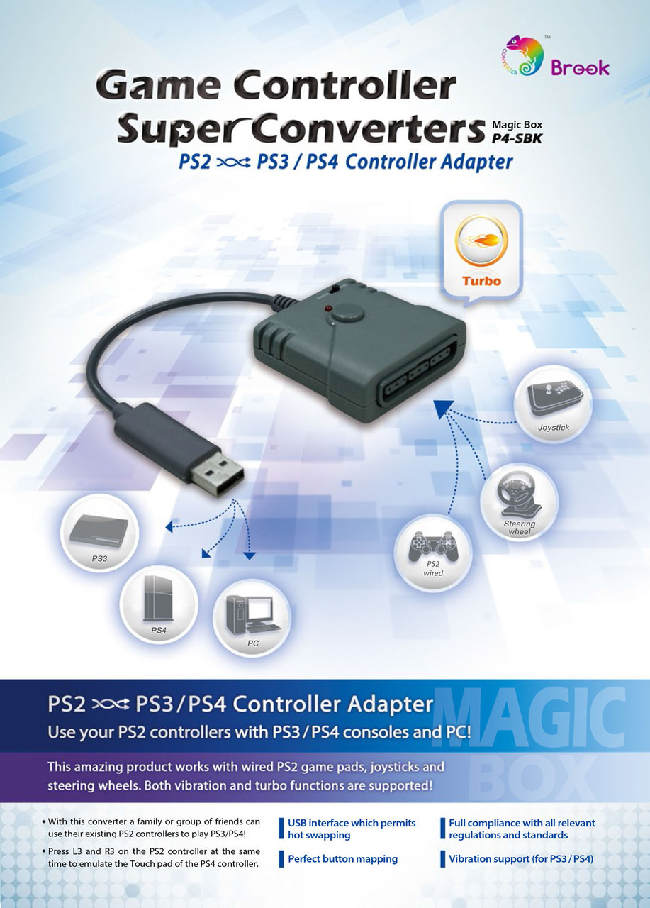 PS2 to PS3 & PS4 Controller Converter P4-SBK Xbox Controller Ps Wiring Diagram on