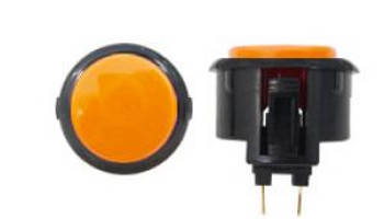 OBSF-30 BUTTON ORANGE/BLACK, 30K Black Rim Arcade Button, VideoGamesNewYork, VGNY