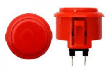 OBSF-30 BUTTON VERMILION, 30mm Solid Color Buttons, VideoGamesNewYork, VGNY