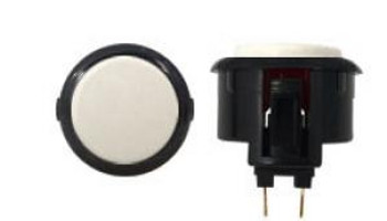 OBSF-30 BUTTON WHITE/BLACK, 30-K Black Rim Arcade Button, VideoGamesNewYork, VGNY