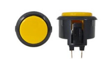 OBSF-30 BUTTON YELLOW/BLACK, 30-K Black Rim Arcade Buttons, VideoGamesNewYork, VGNY
