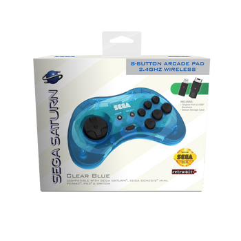 SEGA Saturn 8-button Arcade Pad 2.4GHz Wireless [Clear Blue]