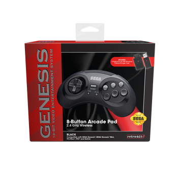 SEGA Genesis 8-button Arcade Pad 2.4GHz Wireless [Black]