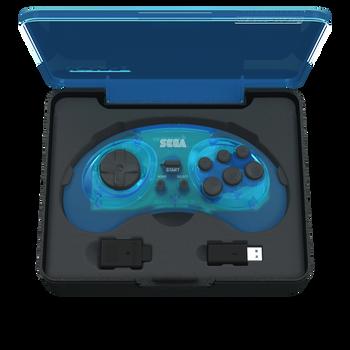 SEGA Genesis 8-button Arcade Pad 2.4GHz Wireless [Clear Blue]