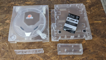 Dreamcast Replacement Shell - Clear White w/ Orange Decal (Sega Dreamcast)