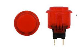 OBSC-24 RED, 24mm Clear Buttons, VideoGamesNewYork, VGNY