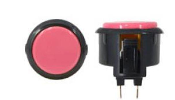 OBSF-30 BUTTON PINK/BLACK, 30-K Black Rim Arcade Buttons, VideoGamesNewYork, VGNY