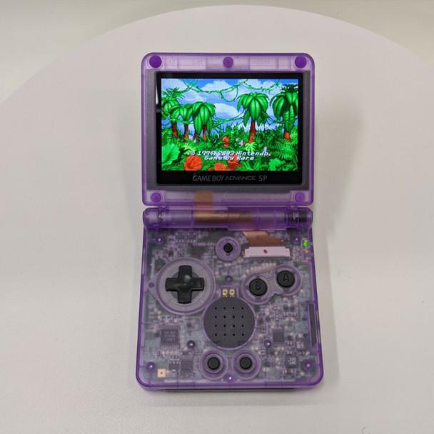 Nintendo GBA SP w/ IPS LCD [CLEAR ATOMIC PURPLE]